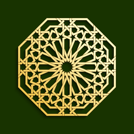 persian art: Islamic golden geometric pattern. Vector muslim mosaic, persian motif. Oriental ornaments, traditional arabic art. Mosque decoration element. 3D mandala for brochures, invitations, greeting cards. Illustration