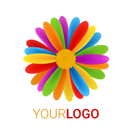 Rainbow Flower logo. Abstract vector illustration isolated on a white background. Colorful icon. Multicultural world, tolerance concept. Modern creative design