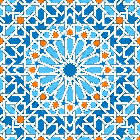 Islamitische geometrische ornamenten op basis van traditionele Arabische kunst. Oosters naadloos patroon. Moslim mozaïek. Kleurrijke vectorillustratie. Blauwe, witte en gele Arabische tegel. Moskee decoratie-element. Stockfoto - 68973749