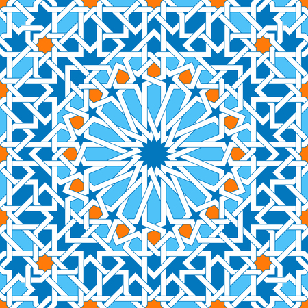 Islamic geometric ornaments based on traditional arabic art. Oriental seamless pattern. Muslim mosaic. Colorful vector illustration. Blue, white and yellow arabian tile. Mosque decoration element.