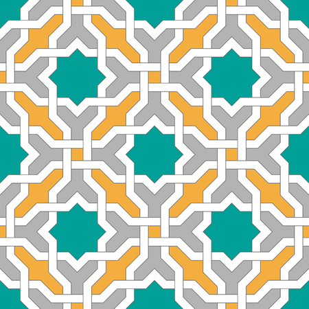 Islamic geometric ornaments based on traditional arabic art. Oriental seamless pattern. Muslim mosaic. Colorful vector illustration. Teal, gray and yellow arabian tile. Mosque decoration element.