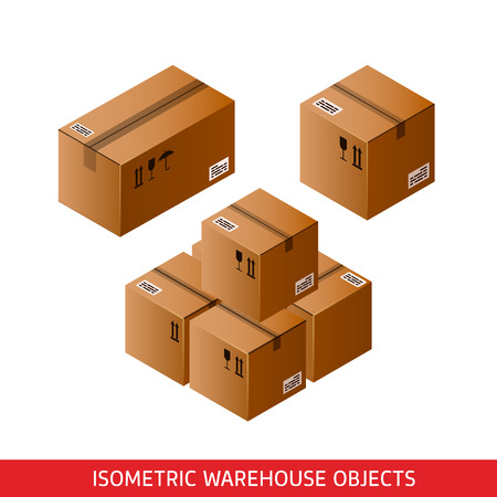 Isometric cardboard boxes sealed with Tape Dispenser. 3D vector warehouse objects isolated on white. Delivery, shipping, packaging concept. Storage items. Brown carton, crates. Logistic theme Illustration