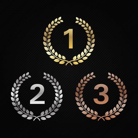 Coronas de laurel de oro, plata y bronce. Premios para ganadores. Honrando campeones. Señales para 1er, 2do y 3er lugar. Trofeo para el desafío. Ilustración del vector para carteles, folletos, decoración.