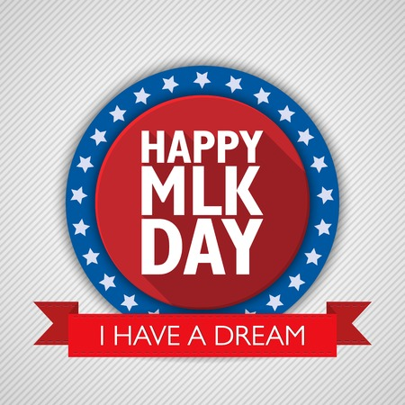 conservative: Martin Luther King Day background. USA patriotic illustration with text and ribbon for posters, decoration in colors of american flag. Colorful template for National celebrations