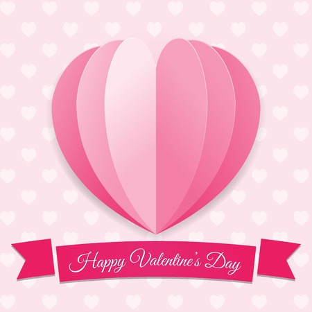 Valentines day background. Pink big heart with ribbon. Romantic Symbol of love. Creative colorful modern illustration. Holiday template, greeting card, poster design. Paper layers.
