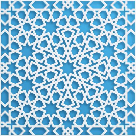 muslim mosaic, persian motif. Mosque decoration element. Islamic geometric pattern. Elegant white oriental ornament, traditional arabic art. 3D illustration for brochures, greeting card