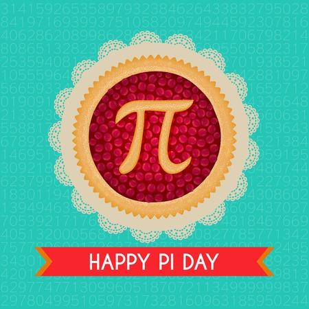 円周率の日背景。チェリーパイの Pi とリボンを焼いた。数学定数、無理数、ギリシャ文字。3 月 14 日の抽象的なデジタル イラスト。ポスター広告ク