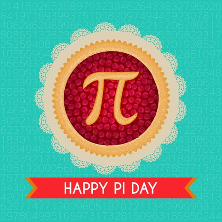Pi Day background. Baked cherry pie with Pi Symbol and ribbon. Mathematical constant, irrational number, greek letter. Abstract digital illustration for March 14th. Poster creative template Иллюстрация