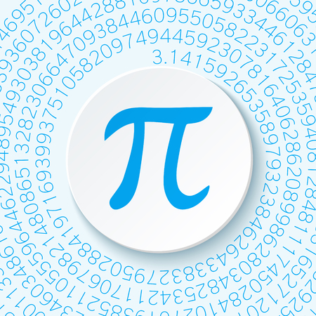 geniality: Pi sign with a shadow on a blue background. Mathematical constant, irrational complex number, greek letter. Abstract digital illustration for March 14th. Poster creative template