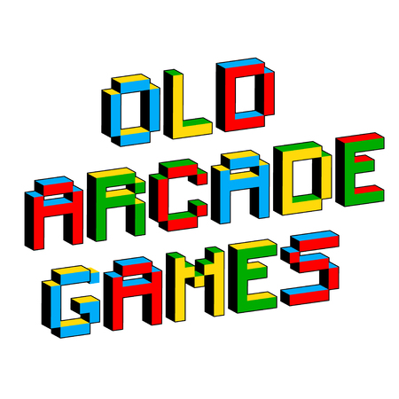 Old Arcade Games text in style of old 8-bit video games. Vibrant 3D Pixel Letters. Fun colorful vector illustration. Flyer, poster template. Computer program, console screen, retro style applications Illustration