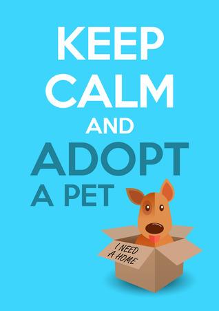 Międzynarodowy dzień bezdomnych zwierząt. Śliczny szczeniak w pudełku. Zachowaj spokój i adoptuj tekst dla zwierząt domowych. Ratowanie psa, ochrona, koncepcja adopcji. Ulotka, plakat szablon. Ilustracji wektorowych