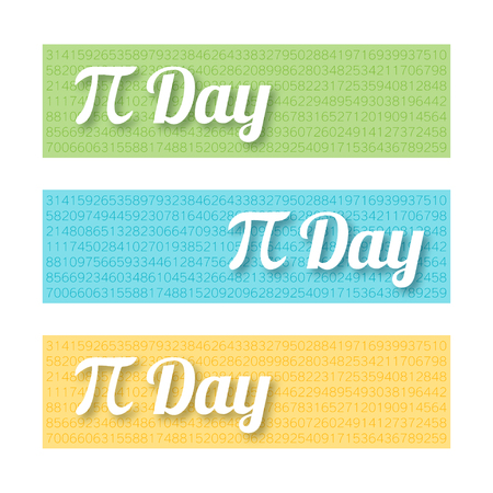 Set of colorful horizontal banners for Pi Day. Mathematical constant, irrational complex number, greek letter. Abstract digital illustration for March 14th. Modern creative template for web design Illustration