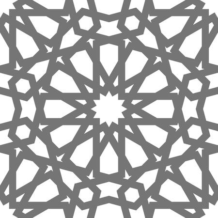 Ornamenti geometrici di vettore islamico basati sull'arte araba tradizionale. Modello senza cuciture orientale. Mosaico musulmano Mattonelle turche e arabe su una priorità bassa bianca.