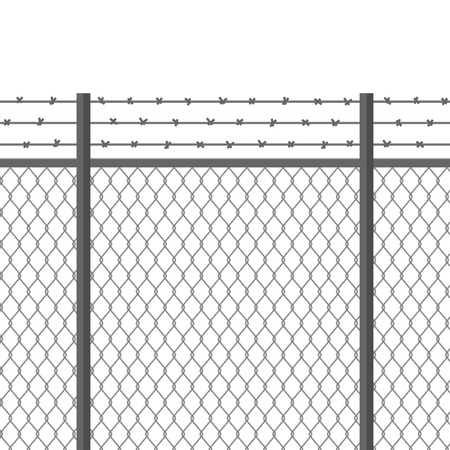 Metal fence with barbed wire. Fortification, secured property, separation concept. Prison barrier. Steel construction for danger areas, safe zones, borders protection. Flat modern vector illustration. Illustration