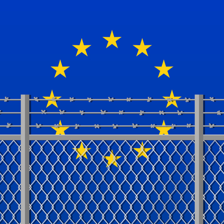 immigrant: Metal fence with barbed wire on a European Union flag. Separation concept, borders protection. Template for march against anti-immigration policies. Social issues on refugees or illegal immigrants.