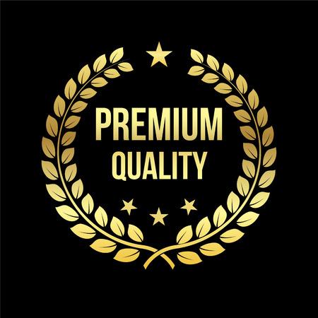 골드 월계관. 프리미엄 품질 상. 황금 레이블입니다. 판매, 소매 테마 디자인 요소입니다. 1 위 자리에 서명하십시오. 도전을위한 트로피. 승리와 업적