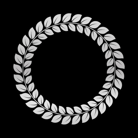 Silver Laurel Wreath. Award for winners. Honoring champions. Trophy for challenge. Symbol of victory and achievements. Vector illustration. Design element for posters, decoration.