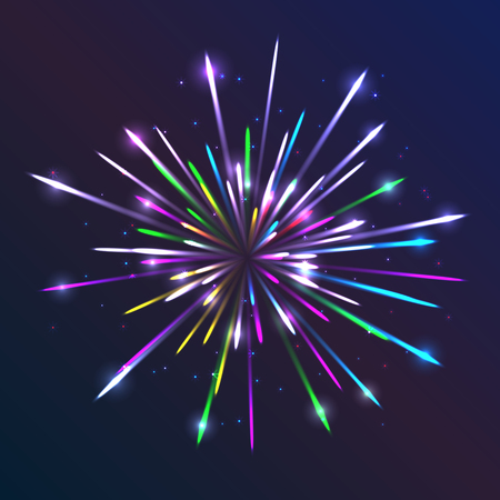 pyrotechnics: Fireworks. Abstract background with bright lines and particles. Glowing light effect. Creative template with sparks. Geometric vector illustration for party, celebration. Colorful modern design