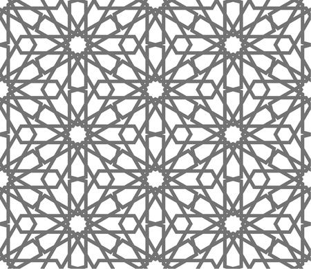 イスラムのシームレスなベクトル パターン。伝統的なアラビア語の芸術に基づく幾何学的な装飾品。東洋のイスラム教徒のモザイク。白い背景のト  イラスト・ベクター素材