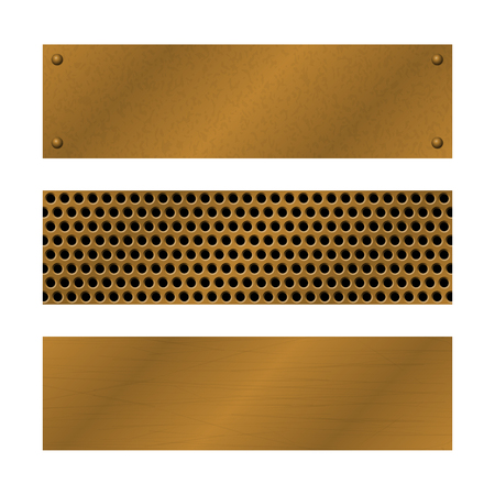scratches: Techno vector banners. Brushed Brass, copper latticed surface template. Abstract industrial illustration for web, engineering, construction. Perforated Metal pattern with rivets. Metallic texture. Illustration