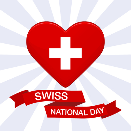 Swiss international day background. Heart in colors of Switzerland flag. Patriotic vector illustration with red ribbon for posters, decoration. Colorful template for National celebration on 1 August Illustration