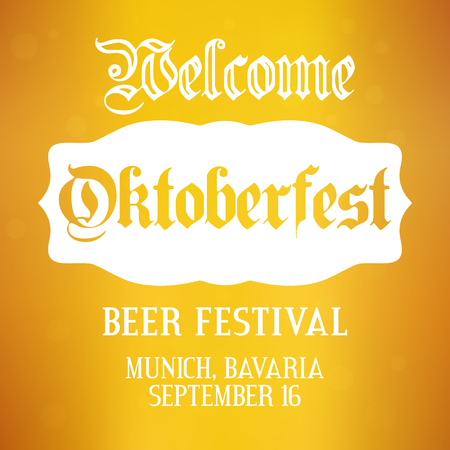 Oktoberfest background. Vector design template for beer festival in Germany, Munich, Bavaria. Greeting card, Party flyer, poster layout for celebration in september and october. Yellow illustration.