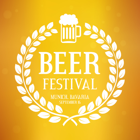 Beer festival logo with text, laurel wreath and glass. Oktoberfest vector background. Creative greeting card, flyer, poster layout for celebration in Germany, Munich, Bavaria. Yellow illustration