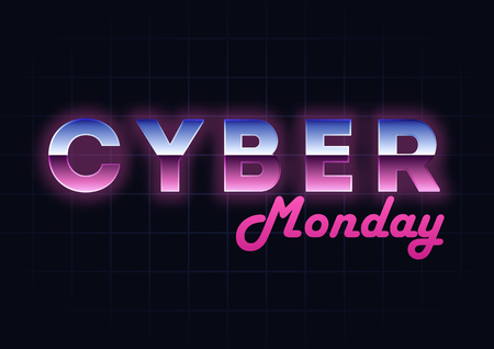 Cyber Monday sale hi-tech background, online shopping and marketing concept, technology vector illustration. Retro Text Effect Retailing and discount theme. Flyer, poster template with letters