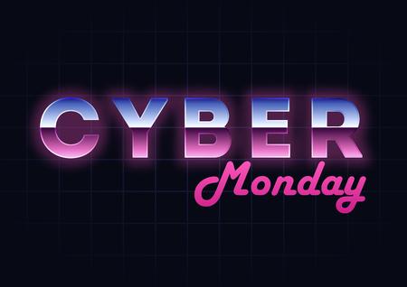 Fondo cyber di ciao-tecnologia di vendita di lunedì, acquisto online e concetto di vendita, illustrazione di vettore di tecnologia. Retro effetto del testo Tema di vendita al dettaglio e di sconto. Flyer, modello di poster con lettere