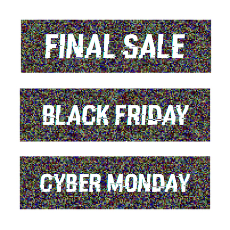 Set of banners with Final Sale, Black Friday and Cyber Monday glitch text. Anaglyph 3D effect. Technological retro vector background. Online shopping concept. Retailing, e-commerce, discount theme