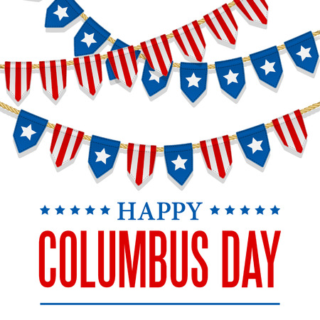 Columbus Day vector background. USA patriotic template with text, stripes and stars for posters, decoration in colors of american flag. Anniversary of Christopher Columbus's arrival in the Americas.