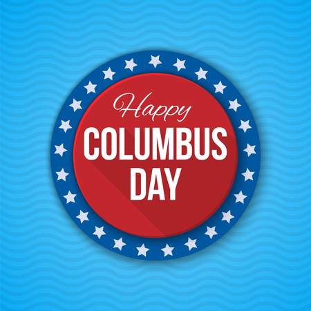 Columbus Day vector background. USA patriotic template with text, stripes and stars for posters, decoration in colors of american flag. Anniversary of Christopher Columbuss arrival in the Americas.