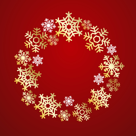 Christmas Wreath made of golden and white snowflakes, Elegant vector greeting card, poster, flyer. Creative ornament decoration New Year, Winter Holidays template for celebration Bright Red background Иллюстрация