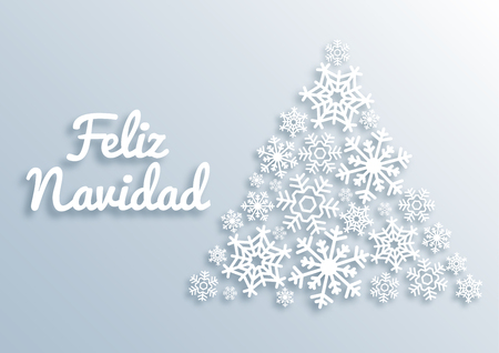Feliz Navidad. Paper style Merry Christmas card with greetings in spanish language. Christmas tree made of white snowflakes. Xmas vector background template. New Year, Winter Holidays design.