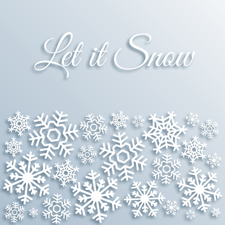 Paper style Christmas greeting card with white snowflakes. Let it snow text. Xmas vector background template. Elegant poster, creative decoration. New Year, Winter Holidays design for celebration.