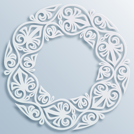 Paper style round white frame, vignette. Vector geometric border bas-relief Elegant decoration, ornament, ethnic motif, traditional art. Element for greeting cards, poster, flyer, invitation template