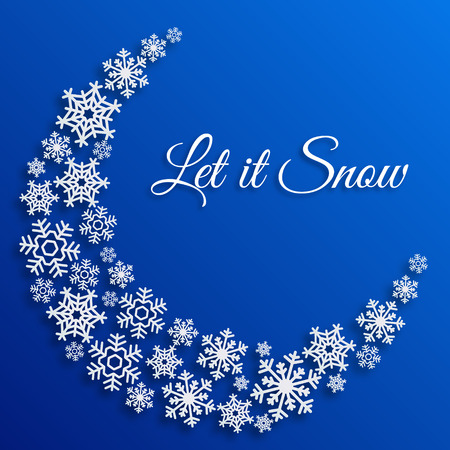 Christmas greeting card with white snowflakes. Let it snow text. Xmas blue vector background template. Elegant poster, flyer, creative decoration. New Year, Winter Holidays design for celebration.