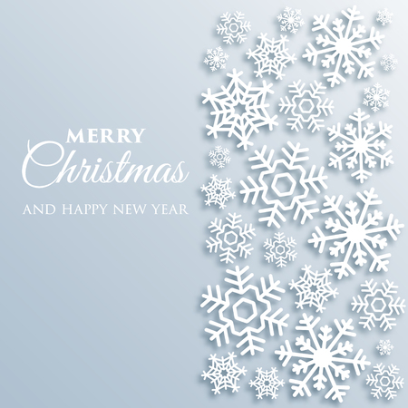 Merry Christmas greeting card with white snowflakes. Paper style Xmas vector background template. Elegant poster, flyer, creative ornament decoration. New Year, Winter Holidays design for celebration.