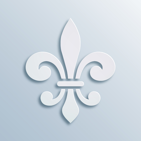 Fleur-de-lis background. Symbol of French heraldry. Paper style illustration. White vector geometric bas-relief, elegant decoration, stone ornament. Element for greeting cards, invitation template.