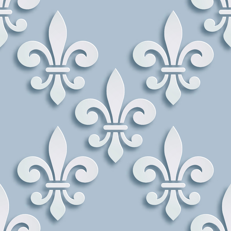 Fleur-de-lis seamless background. Symbol of French heraldry. Paper style illustration. Vector geometric bas-relief, elegant decoration, stone ornament. Element for greeting cards, invitation template Stock Photo