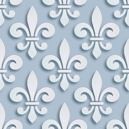 Fleur-de-lis seamless background. Symbol of French heraldry. Paper style illustration. Vector geometric bas-relief, elegant decoration, stone ornament. Element for greeting cards, invitation template.