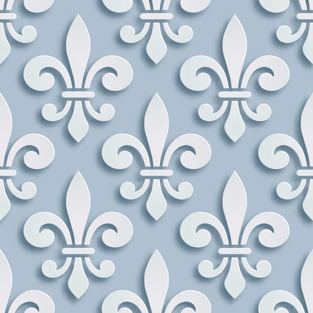 Fleur-de-lis seamless background. Symbol of French heraldry. Paper style illustration. Vector geometric bas-relief, elegant decoration, stone ornament. Element for greeting cards, invitation template Stockfoto