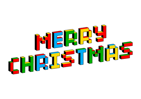 Merry Christmas text in style of old 8-bit video games. Vibrant colorful 3D Pixel Letters. Creative vector poster, flyer template. Retro arcade, platformer, computer program screen Gaming concept