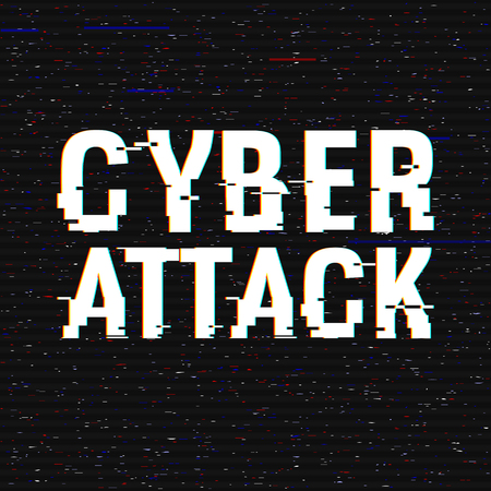 Cyber Attack glitch text. Anaglyph 3D effect. Technological retro background. Hacker application, malware, virus concept Vector illustration. Computer program, cyber security, TV channel screen