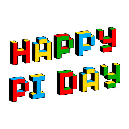 Happy Pi Day text in style of old 8-bit video games. Mathematical constant, irrational complex number, greek letter. Abstract digital illustration for March 14th. Vibrant colorful 3D Pixel Letters