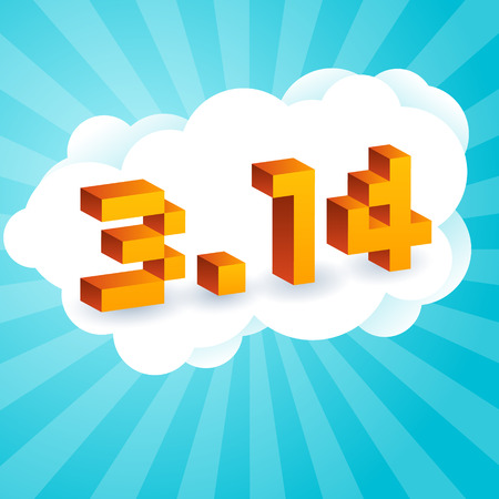 Pi Day text in style of old 8-bit video games. Vibrant 3D Pixel Letters, computer screen. Mathematical constant, irrational complex number, greek letter. Abstract digital illustration for March 14th