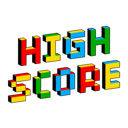 High Score text in style of old 8-bit video games. Vibrant colorful 3D Pixel Letters. Creative digital vector poster, flyer template. Retro arcade, platformer, computer program screen Gaming concept.