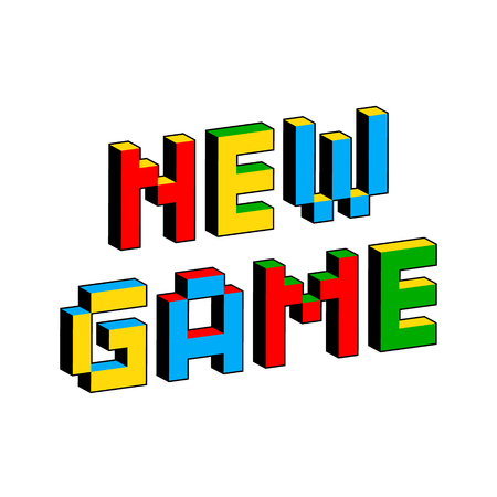 New Game text in style of old 8-bit video games. Vibrant colorful 3D Pixel Letters. Creative digital vector poster, flyer template. Retro arcade, platformer, computer program screen Gaming concept. Иллюстрация