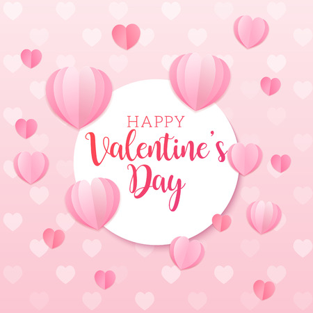 Valentines Day vector background with light pink paper cut hearts. Love pattern for graphic design, greeting card, poster, flyer template. Romantic illustration for celebration on February 14th Иллюстрация