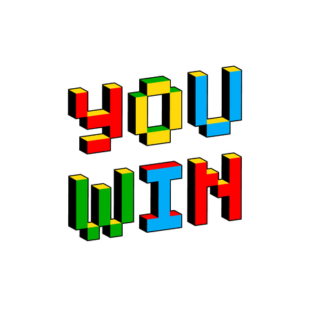 You win text in style of old 8-bit video games. Vibrant colorful 3D Pixel Letters. Creative digital vector poster, flyer template. Retro arcade, platformer, computer program screen Gaming concept.